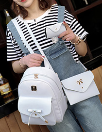 Fashion Gray Bowknot Decorated Pure Color Backpack(3pcs)