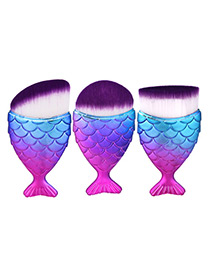 Trendy Blue+plum Red Color Matching Decorated Mermaid Makeup Brush(3pcs)