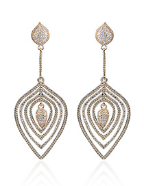Fashion Gold Color Water Drop Diamond Decorated Hollow Out Earrings