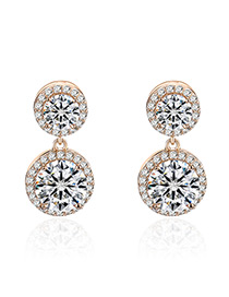 Fashion Gold Color Round Shape Diamond Decorated Pure Color Earrings