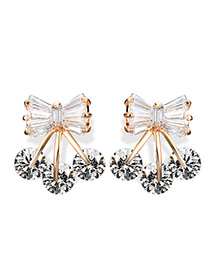 Fashion Gold Color Bowknot Decorated Color Matching Earrings