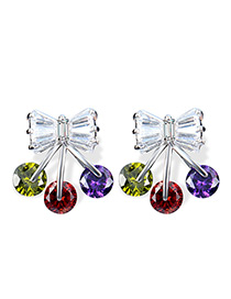 Fashion Silver Color Bowknot Decorated Color Matching Earrings