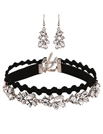 Fashion Black Diamond Decorated Double Layer Choker