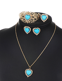 Fashion Green Heart Shape Decorated Hollow Out Jewelry Sets
