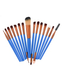 Fashion Blue Color Matching Decorated Makeup Brush(15pcs)