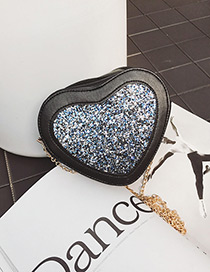 Fashion Blue Paillette Decorated Heart Shape Shoulder Bag