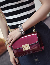 Fashion Red Buckle Decorated Pure Color Shoulder Bag
