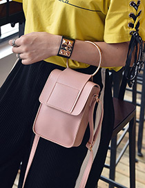 Fashion Pink Circular Ring Decorated Pure Color Shoulder Bag