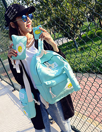 Fashion Green Eggs Pattern Decorated Simple Backpack (4pcs)