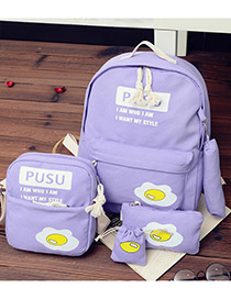 Fashion Purple Eggs Pattern Decorated Simple Backpack (4pcs)
