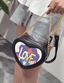 Fashion Black Love Pattern Decorated Heart Shape Shoulder Bag
