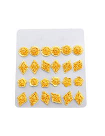 Fashion Gold Color Flowers Decorated Pure Color Earrings (12pcs)