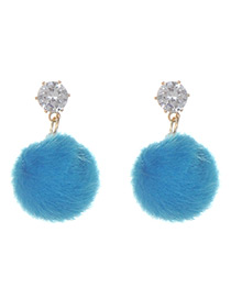 Fashion Blue Fuzzy Ball Decorated Pure Color Pom Earrings