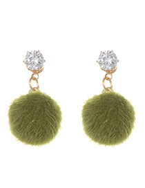 Fashion Green Fuzzy Ball Decorated Pure Color Pom Earrings
