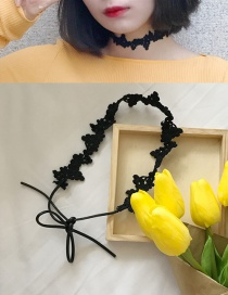 Fashion Black Flower Decorated Pure Color Choker
