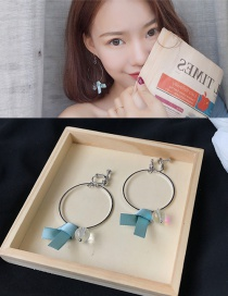 Fashion Blue Bowknot Decorated Pure Color Earrings