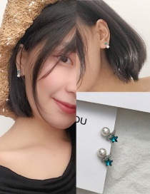 Fashion Green Star&pearl Decorated Color Matching Earrings