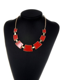 Fashion Red Geometric Shape Decorated Color Matching Necklace