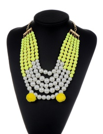 Fashion Yellow Pearls&fuzzy Balls Decorated Multi-layer Pom Necklace