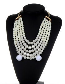 Fashion White Pearls&fuzzy Balls Decorated Multi-layer Pom Necklace