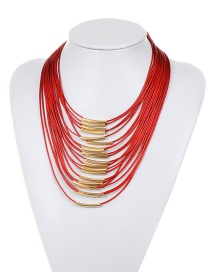 Fashion Red Pure Color Decorated Multi-layer Necklace