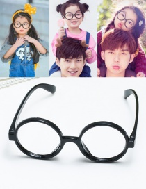 Fashion Black Cicular Ring Shape Decorated Hollow Out Pure Color Glasses