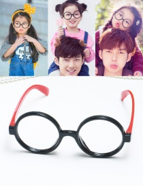 Fashion Black+red Cicular Ring Shape Decorated Hollow Out Pure Color Glasses