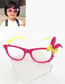 Fashion Plum Red+yellow Rabbit Ears Decorated Color Matching Glasses
