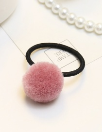 Fashion Dark Pink Pompom Ball Decorated Pure Color Simple Rubber Band