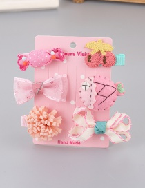 Fashion Pink Bowknot&fish Decorated Color Matching Hair Clip (6 Pcs)