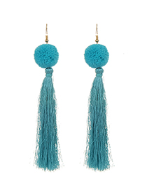 Fashion Dark Blue Long Tassel Decorated Pure Color Earrings