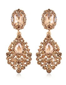 Exaggerated Champagne Round Shape Diamond Decorated Pure Color Earrings