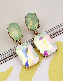 Exaggerated Green Square Shape Gemstone Decorated Color Matching Earrings
