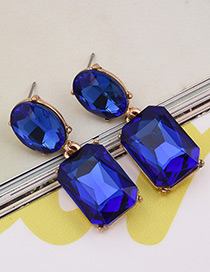Exaggerated Blue Square Shape Gemstone Decorated Pure Color Earrings