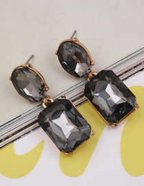 Exaggerated Gray Square Shape Gemstone Decorated Pure Color Earrings