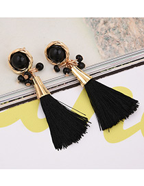 Fashion Black Tassel Decorated Pure Color Simple Earrings