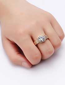 Fashion Gold Color Round Shape Diamond Decorated Pure Color Ring