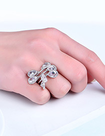 Fashion Silver Color Water Drop Shape Diamond Decorated Simple Ring