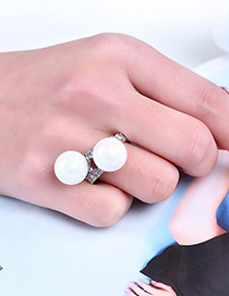 Fashion Silver Color Pearls&diamond Decorated Pure Color Ring