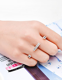 Fashion Silver Color Letter 3 Shape Decorated Pure Color Ring