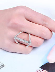 Fashion Silver Color Pure Colordecorated Irregular Shape Ring