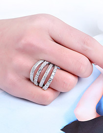 Fashion Silver Color Diamond Decorated Hollow Out Simple Ring