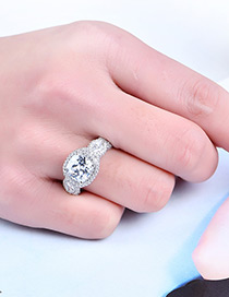Fashion Silver Color Square Shape Diamond Decorated Simple Ring