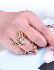 Fashion Gold Color Diamond Decorated V Shape Design Ring