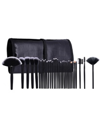Fashion Black Pure Color Decorated Simple Makeup Brush(32pcs With Bag)