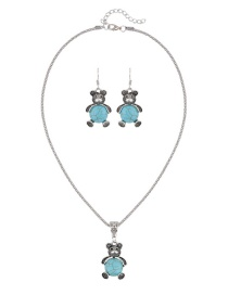 Trendy Green Bear Shape Decorated Pure Color Simple Jewelry Set