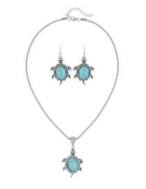 Trendy Green Turtle Shape Decorated Pure Color Jewelry Set