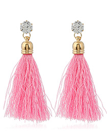 Trendy Pink Diamond&tassel Decorated Pure Color Simple Earrings