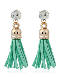 Trendy Green Diamond&tassel Decorated Pure Color Simple Earrings