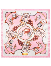 Fashion Light Pink Carriage Pattern Decorated Simple Scarf